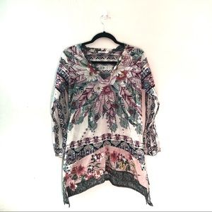 Johnny Was Tribal Print Long sleeve Tunic top
